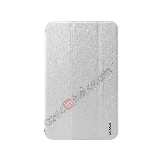 discount USAMS Starry Sky Series Tri-fold Stand Leather Case for Samsung Galaxy Tab3 Lite7 T110 - White