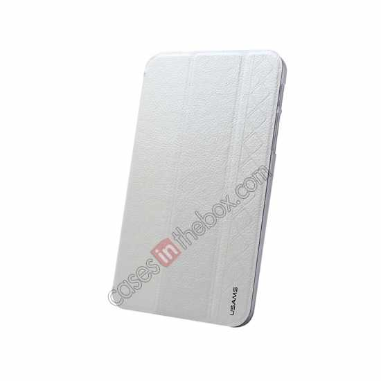 top quality USAMS Starry Sky Series Tri-fold Stand Leather Case for Samsung Galaxy Tab3 Lite7 T110 - White