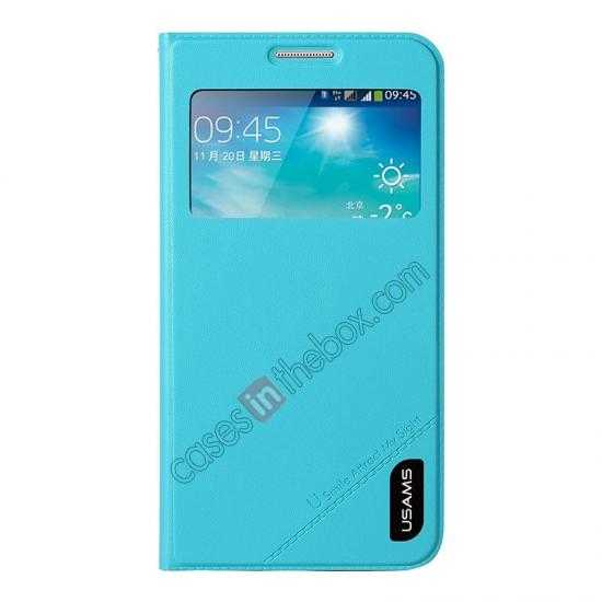 wholesale USAMS View Window Leather Back Cover Battery Housing Case for Samsung Galaxy Grand 2/G7106 - Light Blue