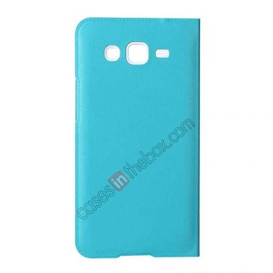 discount USAMS View Window Leather Back Cover Battery Housing Case for Samsung Galaxy Grand 2/G7106 - Light Blue