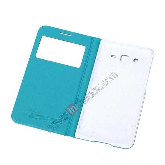cheap USAMS View Window Leather Back Cover Battery Housing Case for Samsung Galaxy Grand 2/G7106 - Light Blue