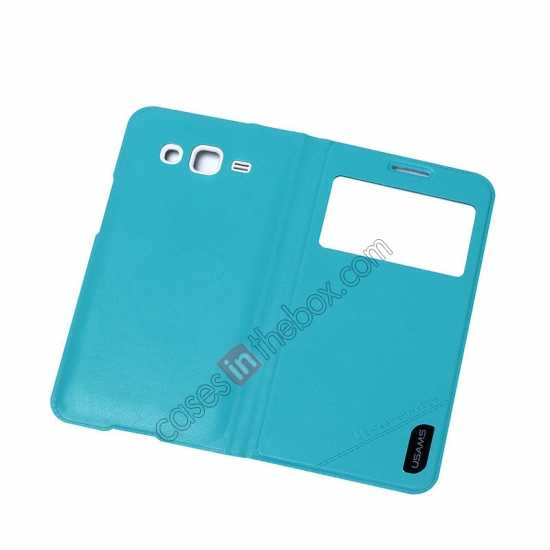 top quality USAMS View Window Leather Back Cover Battery Housing Case for Samsung Galaxy Grand 2/G7106 - Light Blue