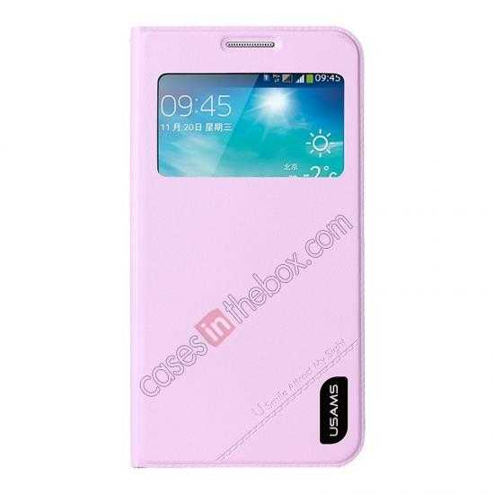 wholesale USAMS View Window Leather Back Cover Battery Housing Case for Samsung Galaxy Grand 2/G7106 - Pink