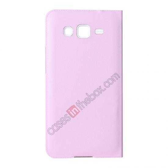 discount USAMS View Window Leather Back Cover Battery Housing Case for Samsung Galaxy Grand 2/G7106 - Pink