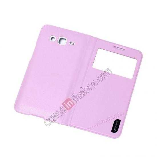 top quality USAMS View Window Leather Back Cover Battery Housing Case for Samsung Galaxy Grand 2/G7106 - Pink