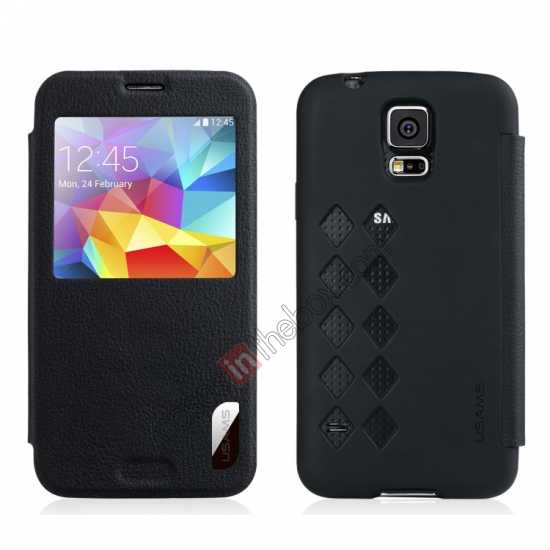 wholesale USAMS Window View Smart Cover Leather Flip Case for Samsung Galaxy S5 - Black