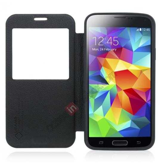 discount USAMS Window View Smart Cover Leather Flip Case for Samsung Galaxy S5 - Black
