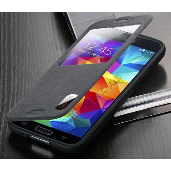 top quality USAMS Window View Smart Cover Leather Flip Case for Samsung Galaxy S5 - Black