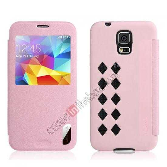 wholesale USAMS Window View Smart Cover Leather Flip Case for Samsung Galaxy S5 - Pink