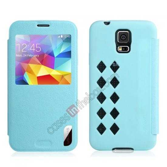 wholesale USAMS Window View Smart Cover Leather Flip Case for Samsung Galaxy S5 - Sky Blue