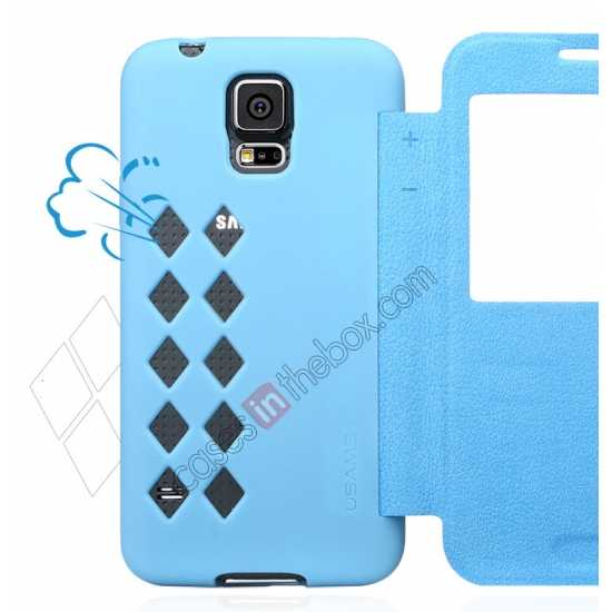 top quality USAMS Window View Smart Cover Leather Flip Case for Samsung Galaxy S5 - Sky Blue