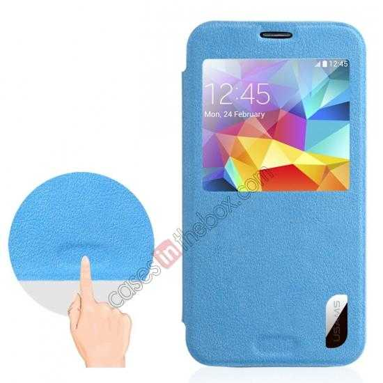 best price USAMS Window View Smart Cover Leather Flip Case for Samsung Galaxy S5 - Sky Blue
