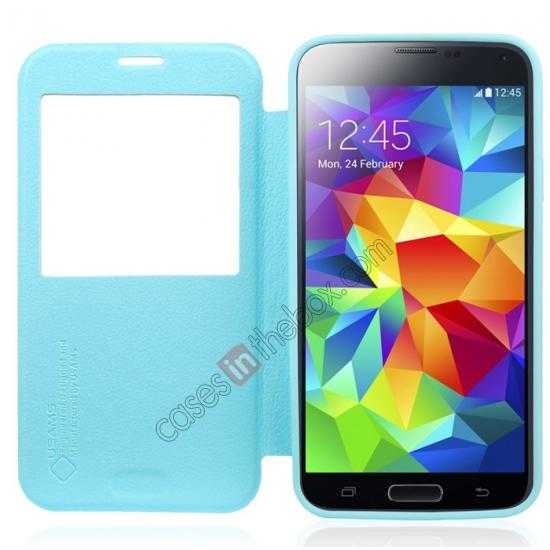 discount USAMS Window View Smart Cover Leather Flip Case for Samsung Galaxy S5 - Sky Blue