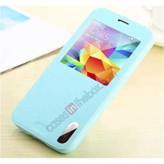 low price USAMS Window View Smart Cover Leather Flip Case for Samsung Galaxy S5 - Sky Blue