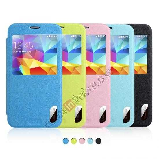 high quanlity USAMS Window View Smart Cover Leather Flip Case for Samsung Galaxy S5 - Sky Blue