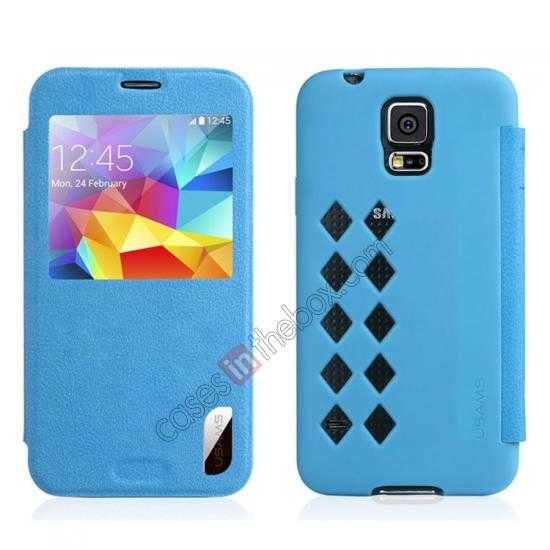 wholesale USAMS Window View Smart Cover Leather Flip Case for Samsung Galaxy S5 - Blue