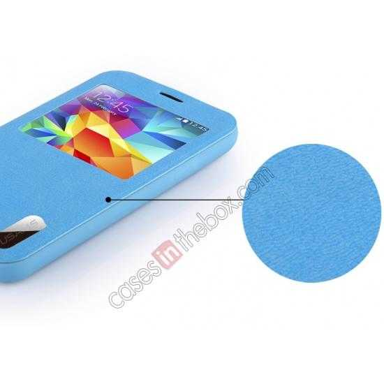 discount USAMS Window View Smart Cover Leather Flip Case for Samsung Galaxy S5 - Blue