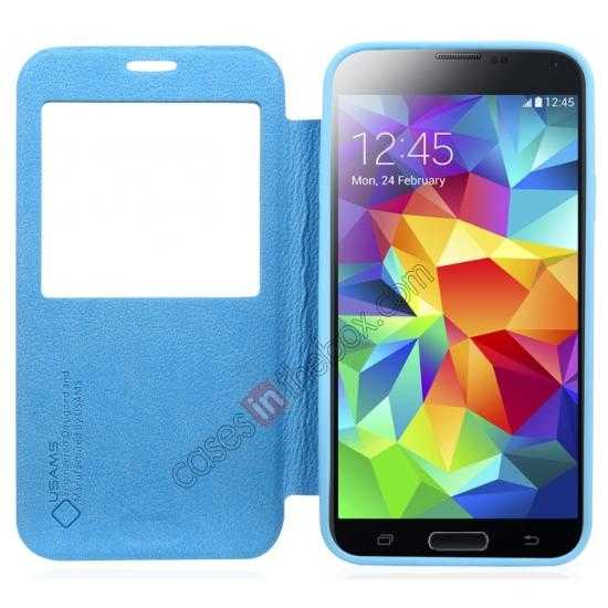 best price USAMS Window View Smart Cover Leather Flip Case for Samsung Galaxy S5 - Blue