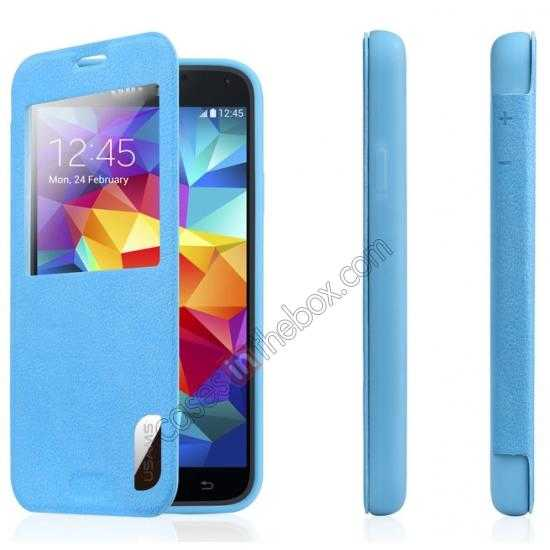 on sale USAMS Window View Smart Cover Leather Flip Case for Samsung Galaxy S5 - Blue