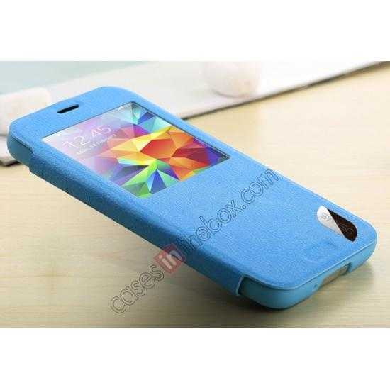 low price USAMS Window View Smart Cover Leather Flip Case for Samsung Galaxy S5 - Blue