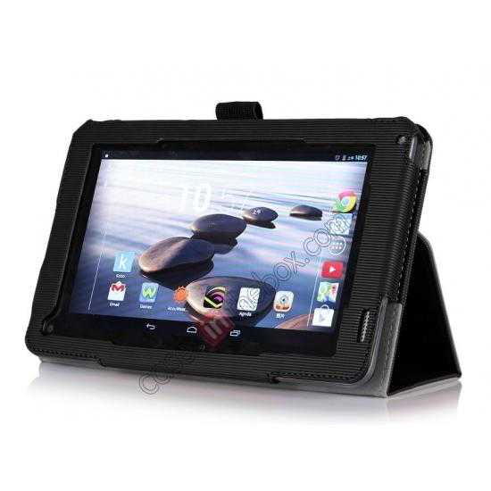 discount Vertical stripe Smart Tri-Fold Stand Leather Case for Acer Iconia B1-720 - Black