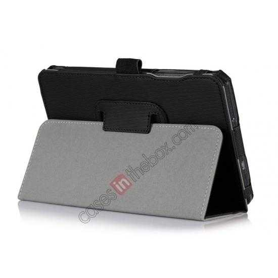 wholesale Vertical stripe Smart Tri-Fold Stand Leather Case for Acer Iconia B1-720 - Black