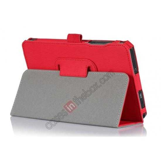 wholesale Vertical stripe Smart Tri-Fold Stand Leather Case for Acer Iconia B1-720 - Red
