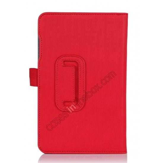 top quality Vertical stripe Smart Tri-Fold Stand Leather Case for Acer Iconia B1-720 - Red