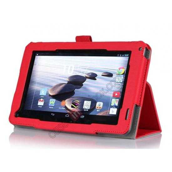 discount Vertical stripe Smart Tri-Fold Stand Leather Case for Acer Iconia B1-720 - Red