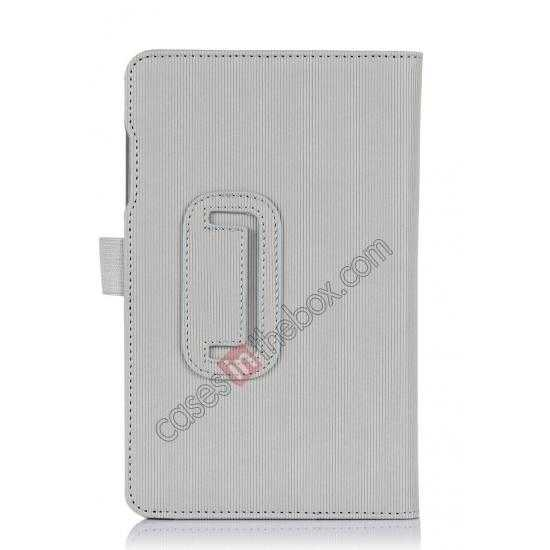 top quality Vertical stripe Smart Tri-Fold Stand Leather Case for Acer Iconia B1-720 - White