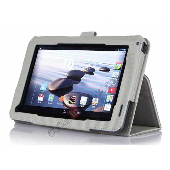 discount Vertical stripe Smart Tri-Fold Stand Leather Case for Acer Iconia B1-720 - White