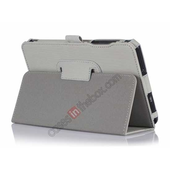 wholesale Vertical stripe Smart Tri-Fold Stand Leather Case for Acer Iconia B1-720 - White