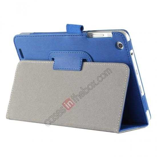 cheap Vertical stripe Smart Tri-Fold Stand Leather Case for HP 8 1401 8 Tablet - Blue