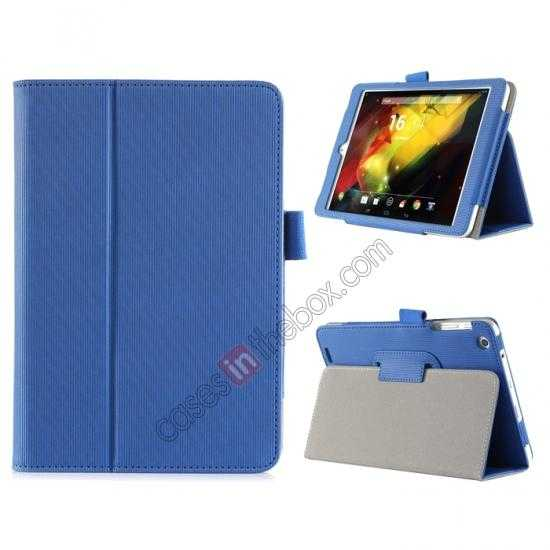 wholesale Vertical stripe Smart Tri-Fold Stand Leather Case for HP 8 1401 8 Tablet - Blue