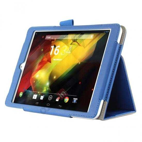 discount Vertical stripe Smart Tri-Fold Stand Leather Case for HP 8 1401 8 Tablet - Blue