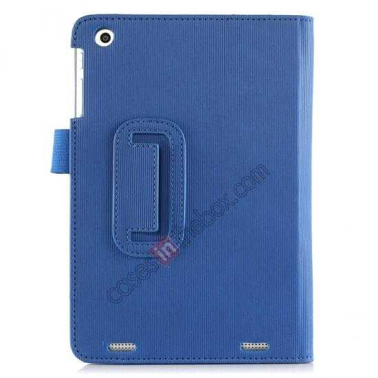 best price Vertical stripe Smart Tri-Fold Stand Leather Case for HP 8 1401 8 Tablet - Blue