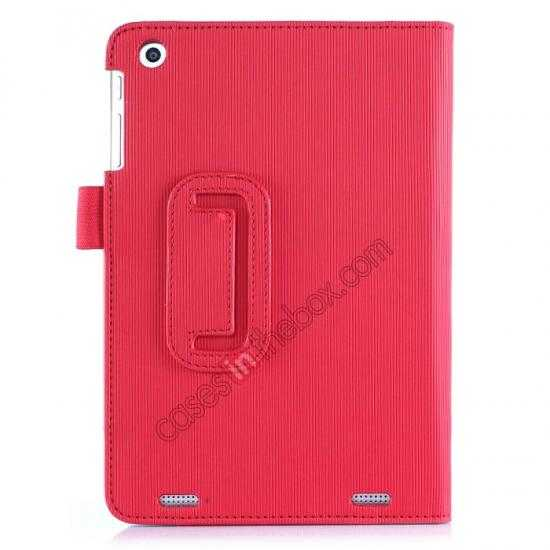 best price Vertical stripe Smart Tri-Fold Stand Leather Case for HP 8 1401 8 Tablet - Red