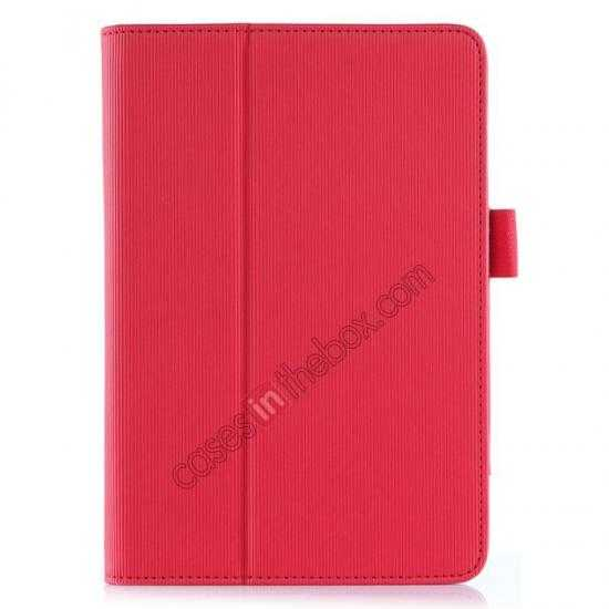 top quality Vertical stripe Smart Tri-Fold Stand Leather Case for HP 8 1401 8 Tablet - Red