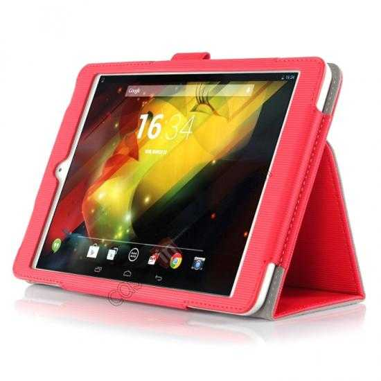 discount Vertical stripe Smart Tri-Fold Stand Leather Case for HP 8 1401 8 Tablet - Red