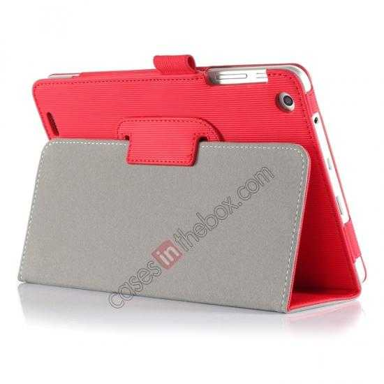 cheap Vertical stripe Smart Tri-Fold Stand Leather Case for HP 8 1401 8 Tablet - Red