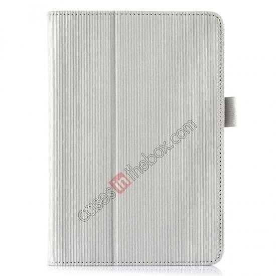 top quality Vertical stripe Smart Tri-Fold Stand Leather Case for HP 8 1401 8 Tablet - White