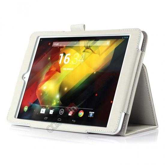discount Vertical stripe Smart Tri-Fold Stand Leather Case for HP 8 1401 8 Tablet - White