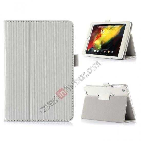 wholesale Vertical stripe Smart Tri-Fold Stand Leather Case for HP 8 1401 8 Tablet - White