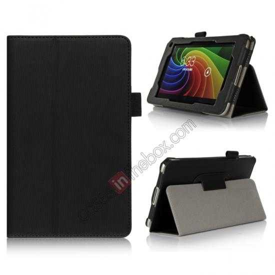 wholesale Vertical stripe Smart Tri-Fold Stand Leather Case for Toshiba AT7-B8 - Black