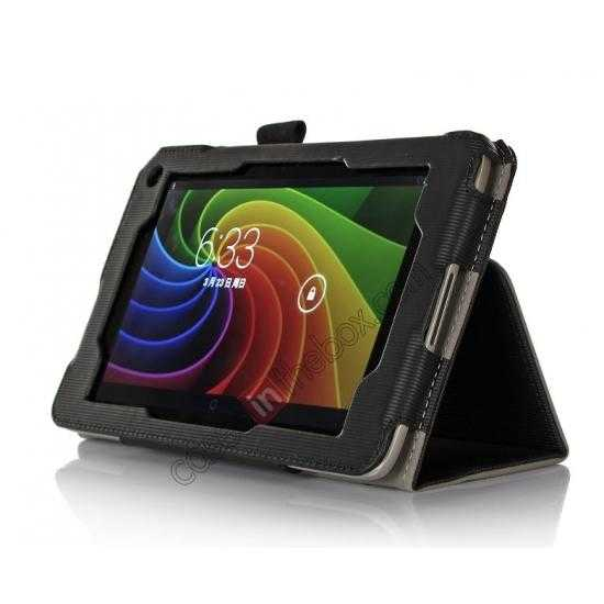 discount Vertical stripe Smart Tri-Fold Stand Leather Case for Toshiba AT7-B8 - Black