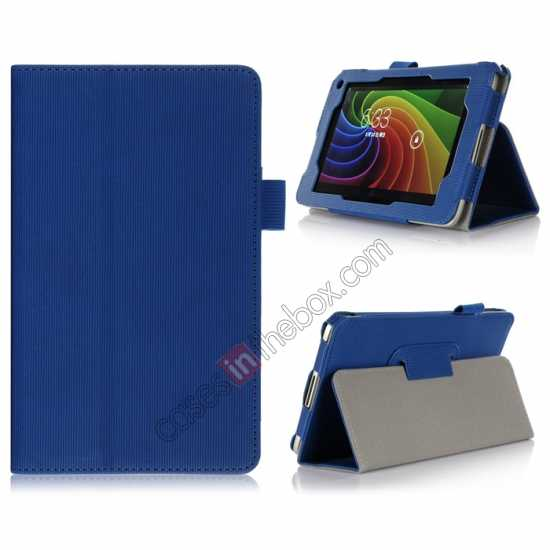 wholesale Vertical stripe Smart Tri-Fold Stand Leather Case for Toshiba AT7-B8 - Blue
