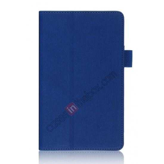 top quality Vertical stripe Smart Tri-Fold Stand Leather Case for Toshiba AT7-B8 - Blue