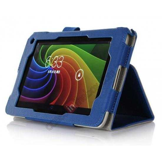 discount Vertical stripe Smart Tri-Fold Stand Leather Case for Toshiba AT7-B8 - Blue