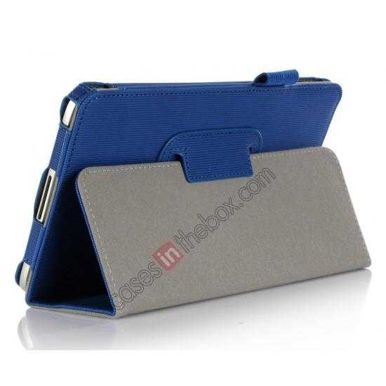cheap Vertical stripe Smart Tri-Fold Stand Leather Case for Toshiba AT7-B8 - Blue