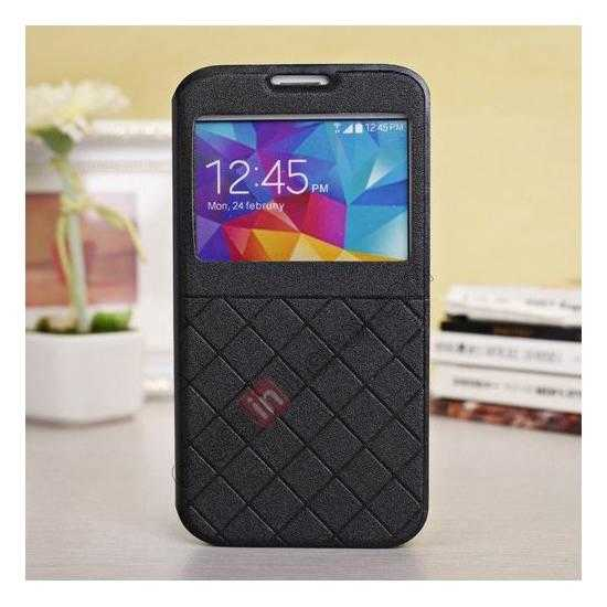 wholesale Window View Design Slim PU Leather Flip Stand Case For Samsung Galaxy S5 - Black